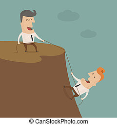 Businessman on the top of a rock helping an other...