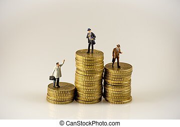 Businessman on the top of coins stack
