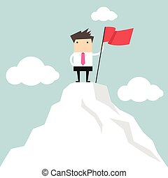 Businessman on the top of mountain