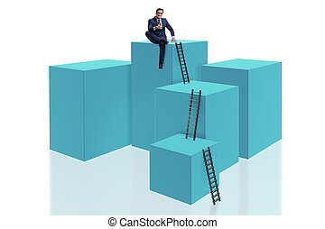 Businessman on top of block isolated on white