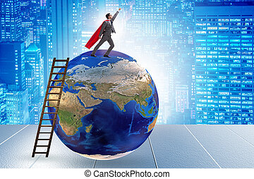 Businessman on top of the world