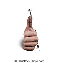 businessman on top of thumb
