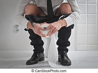 businessman on wc - businessman on the toilet with toilet...
