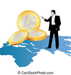 Businessman on wold`s map pointing