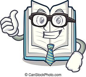 Businessman opened book isolated in the character