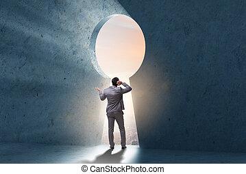 Businessman opening new door to success