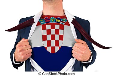Businessman opening shirt to reveal croatia flag