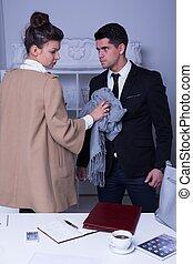Businessman opposing his boss