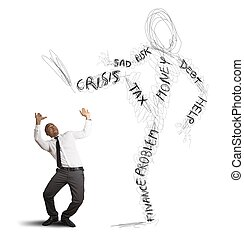 Concept of businessman oppressed by the monster of the crisis