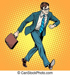 Businessman optimist goes to work pop art retro style. A man in a suit with a briefcase. Walk the pedestrian street.