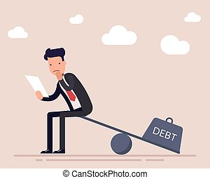 Businessman or a manager with a loan agreement sits on the scales. The severity of a financial debt. Heavy burden. Flat character isolated on background. Vector illustration.