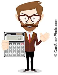 Funny office worker man - Accountant or manager shows the calculator to work on the white background for use in presentations. Stock Vector illustration