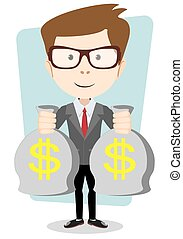 Businessman or banker with a Bag of Gold Cash Dollar. Vector Illustration
