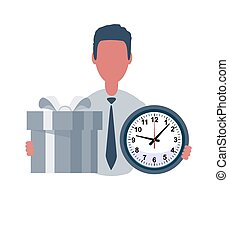 Businessman or clerk holds a watch and a gift. Male character in trendy simple style with objects, flat vector illustration. Business concept.