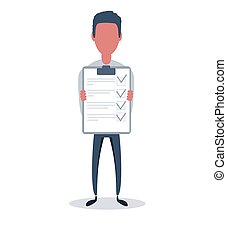 Businessman or clerk. Male character in trendy simple style with objects, flat vector illustration.