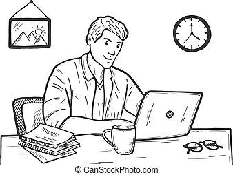 Businessman or freelancer at work
