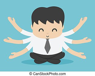 businessman or man sitting for meditation and relaxation and peace, people who have knowledge of work