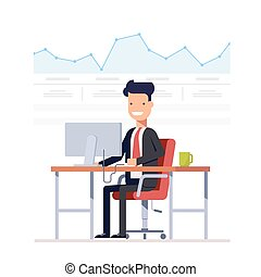 Businessman or manager analyzes the schedule. Successful entrepreneur is engaged arbitrage traffic. Man on a workplace computer. Vector, illustration EPS10.