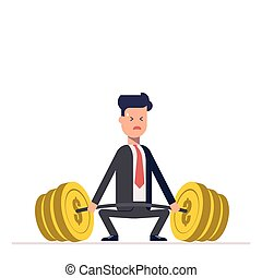 Businessman or manager can not lift a heavy barbell with money. Great difficulties. Unattainable. Vector, illustration EPS10.