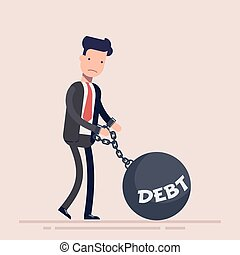 Businessman or manager chained to a weight with an inscription debt. Concept of bankruptcy. Vector illustration in a flat style.