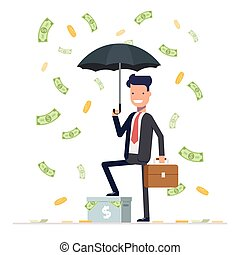 Businessman or manager hold umbrella and standing under money rain. Office worker character isolated on white background. Vector, illustration EPS10.