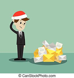 Businessman or manager in new Christmas finding himself going to be busy. A lot of emails