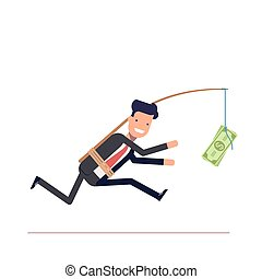 Businessman or manager is running after money. Greedy man in...