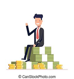 Businessman or manager is sitting on a big pile of money and waving. Vector, illustration EPS10