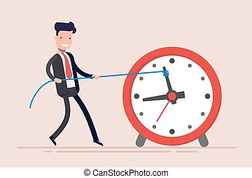 Businessman or manager is wasting time. Man is trying to get time back. The businessman failed to fulfill the task in time.