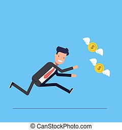Businessman or manager runs after money flies away. Man in business suit in a hurry for coins with wings. Vector, illustration EPS10.