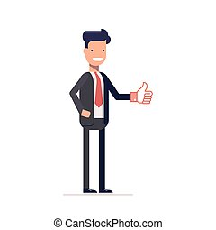 Businessman or manager showing thumbs up. Man in a business suit approves the proposal. Happy character. Vector, illustration EPS10.