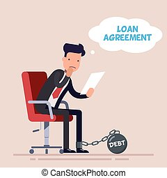 Businessman or manager sits on an office chair and reads a loan agreement. Big financial debt. Kettlebell chained to the foot of a sad man. Flat character isolated on background.