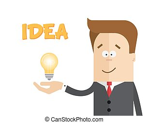 Businessman or manager with a lamp in his hand . The idea of inspiration