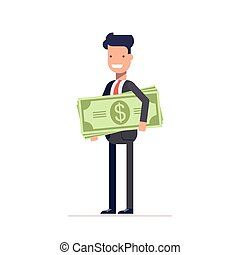 Businessman or manager with money in hand. The employee received a salary. Man holds large amount of dollars. Vector, illustration EPS10.