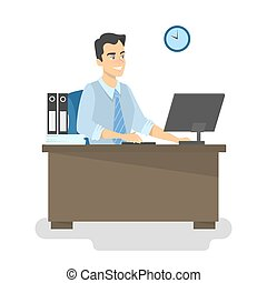 Businessman or offfice worker sitting at the desk.