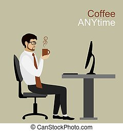businessman or office worker holding a cup of coffee