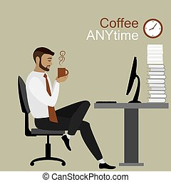 businessman or office worker holding a cup of coffee, coffee break