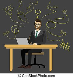 Businessman or office worker sitting at the computer