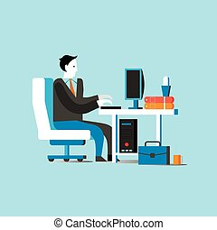 Businessman or office worker sitting on chair and working with computer. Business concept vector illustration