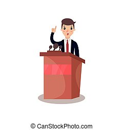 Businessman or politician character speaking from tribune, public speaker, political debates vector Illustration