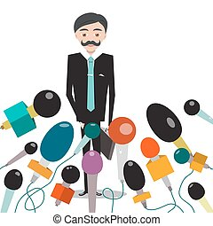 Businessman or Politician with Microphones on White Background. Vector Cartoon.