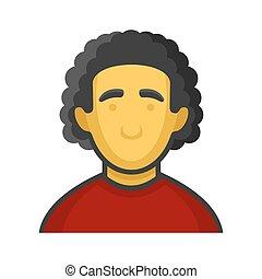 Businessman or Programmer Avatar Profile Userpic on White Background. Vector