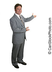 A businessman or realtor gesturing with both hands toward a chart or home - isolated.