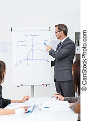 Businessman or team leader giving a lecture