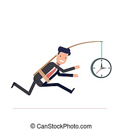 Businessman or tied clock manager runs the time. Stupid, inconsiderate man in a business suit does not notice his mistake. Vector, illustration EPS10.