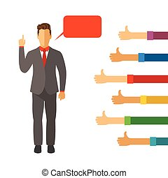 Businessman oratory ability vector concept in modern flat style
