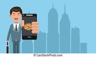 Businessman order fast food online HD animation