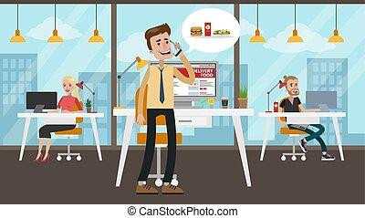 Businessman ordering food.