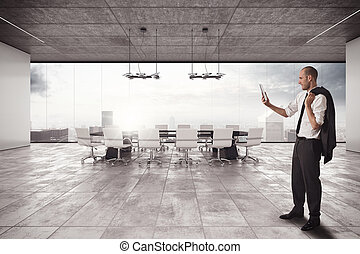 Businessman organizes a meeting