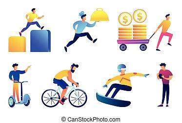 Businessman outdoor activities vector illustrations set.